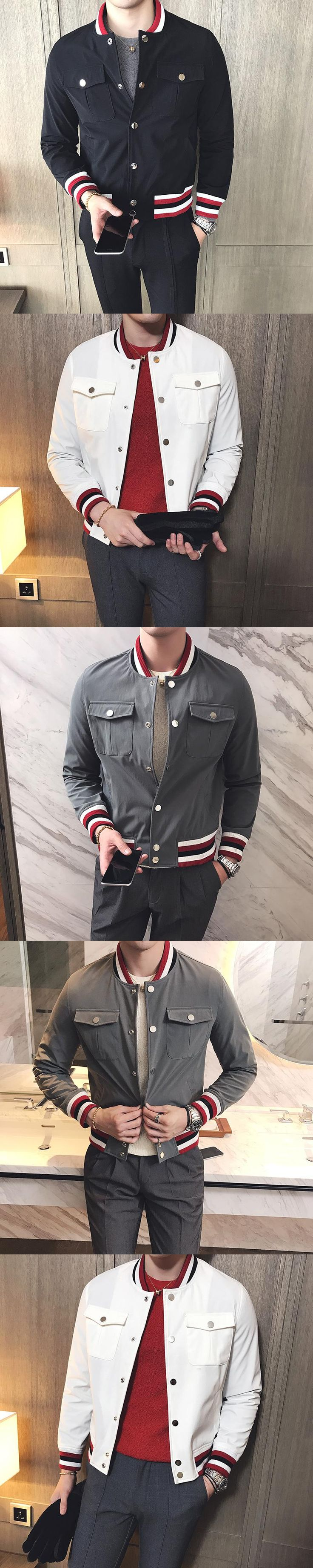 2017 Winter Jacket Mens Bomber Jackets Mens Stripe Baseball Jackets Mens Social Slim Fit Korea White Parka Jaqueta Masculina