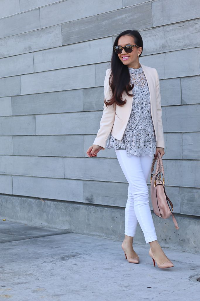 Art of Crochet Top in Grey, Chloe marcie small leather satchel, louboutin pigalle nude pumps, petite molly blazer, blush collarless blazer, business casual outfit, white jeans, gray lace top, petite fashion blog - click the photo for outfit details!