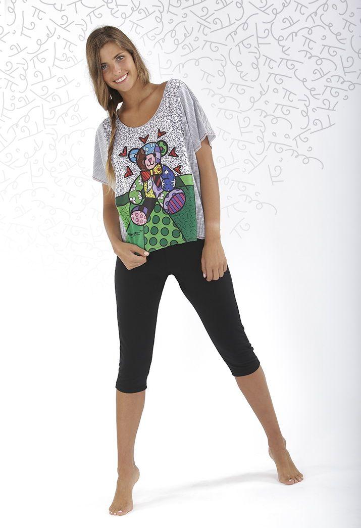Pijama Mujer Britto manga corta, pantalón pirata