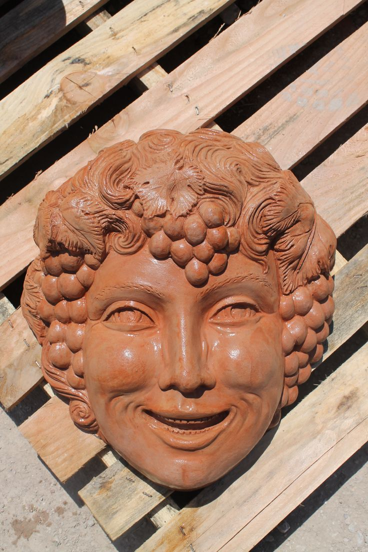"""Mascherone Bacco che ride"" #terracotta_mask #terracotta_fountain #tuscan_handicraft #mascherone_terracotta #bacco #fontana_terracotta #impruneta_handicraft"