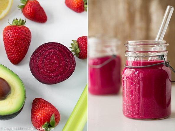 beetstrawberrysmoothie 3   Introducing Vegan Glow + Pink Power Detox Smoothie Recipe