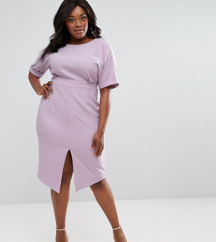 Get this Asos Curve's midi dress now! Click for more details. Worldwide shipping. ASOS CURVE Smart Midi Dress - Purple: Plus-size dress by ASOS CURVE, Lightly-textured woven fabric, Round neck, Short sleeves, Front split, V-back, Zip-back fastening, Slim fit - cut close to the body, Machine wash, 97% Polyester, 3% Elastane, Our model wears a UK 18/EU 46/US 14 and is 175cm/5'9 tall, Midi dress length between: 115-125cm. Say goodbye to awkward-fitting plus-size fashion with our ASOS CURVE…
