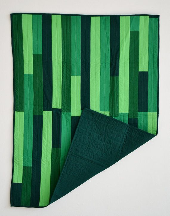 Parallel Greens Quilt by AQuestionofEagles on Etsy