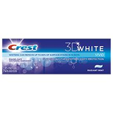 Crest 3D White Vivid Toothpaste - makes my mouth feel clean even when waking up the next morning!