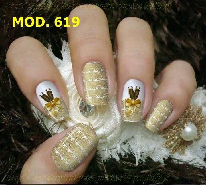 Laminas de gel, una decoración moderna para navidad Adhesivos en laminas de gel para uñas