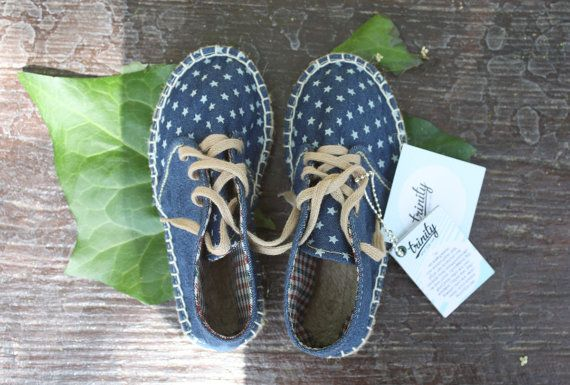 Espadrilles kids shoes sneakers flat blue by TrinityAndTheCat