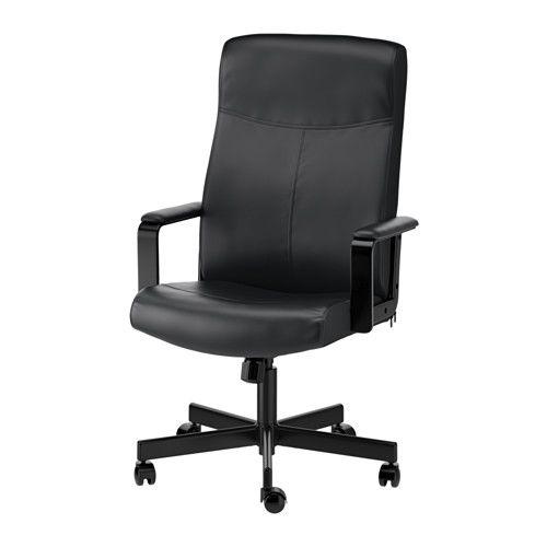 IKEA - MILLBERGET, Uredska stolica, Bomstad cr, , Ugrađena lumbalna potpora pruža oslonac vašim leđima i dodatno ih opušta.Sjedit ćete udobno jer je visina stolice podesiva.