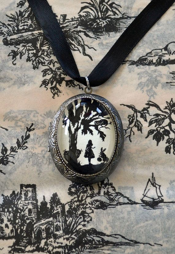 Alice in Wonderland Locket Necklace  locket pendant by tinatarnoff, $45.00