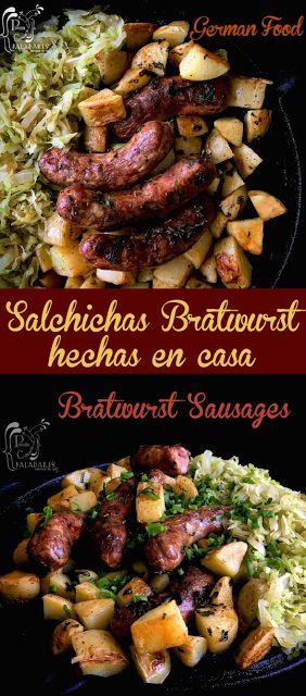 Salchichas Bratwurst con papas y repollo   – Carnes – Vaca – Cerdo – Cordero