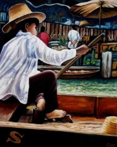 "Saatchi Art Artist Dan Civa; Painting, ""Floating Market, Bangkok, Thailand, No.J."" #art"