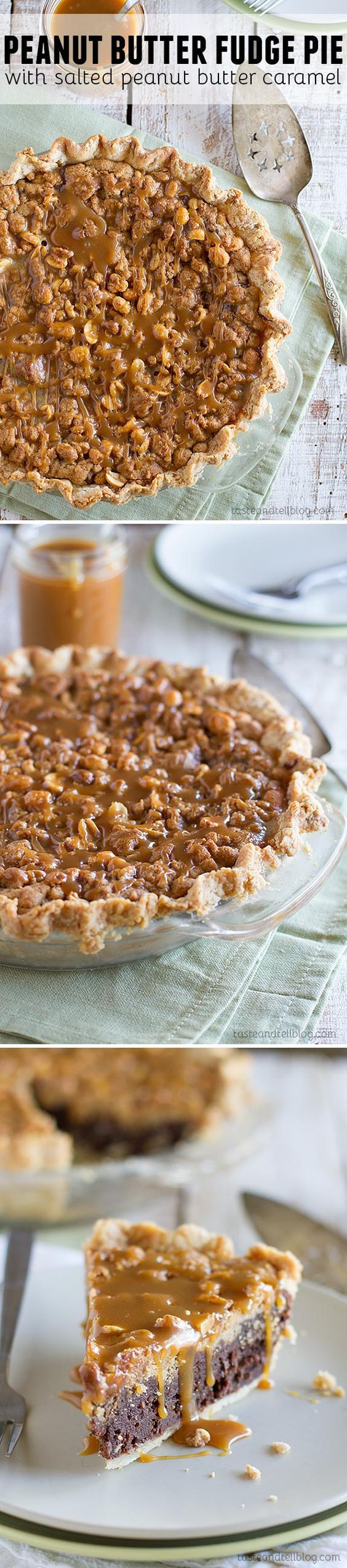 This pie is over the top delicious! A fudge layer is topped with a peanut butter crumble, then the whole thing is served with a delicious salted peanut butter caramel.