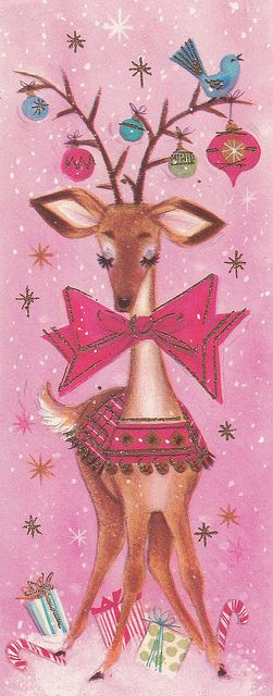 Vintage Pink Christmas card with reindeer, bluebird and ornaments. Looks like the
