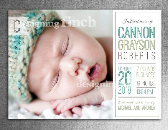 Modern Baby Birth Announcement Photo Card, 5x7, Printable and Customizable #115