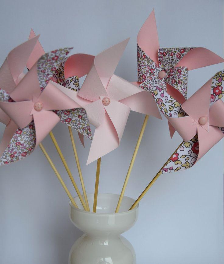 6 moulins à vent rose pâle et liberty - décoration chambre, baptême, baby shower, anniversaire, mariage : Accessoires de maison par tresors-d-enfance