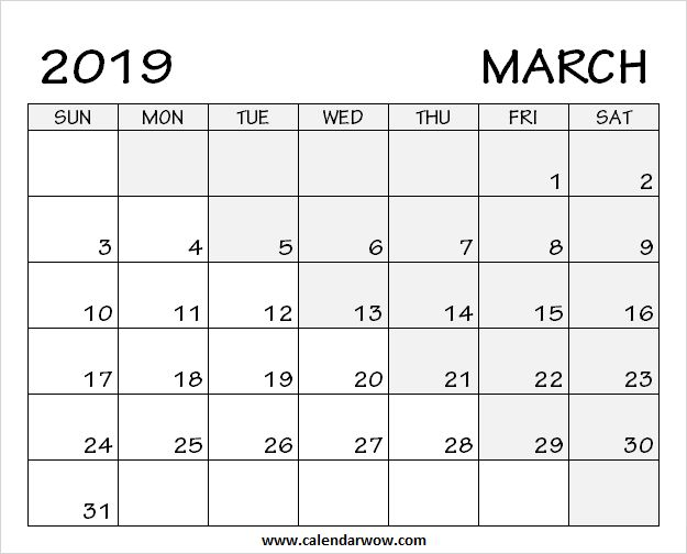 printable blank march 2019 calendar  download free