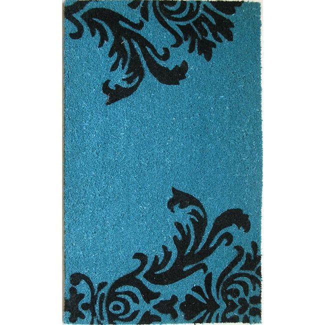 Oasis Cocoa Matting 'Neptune' Blue Door Mat (16 x 24) (Neptune), Multi