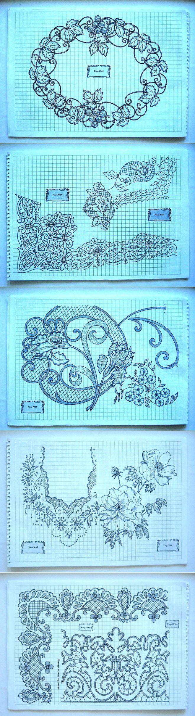 Рисунки для контурной вышивки и ришелье..   īru raksts   Постила