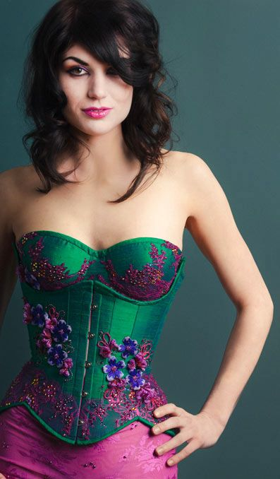 Emerald silk corset with Swarovski beads
