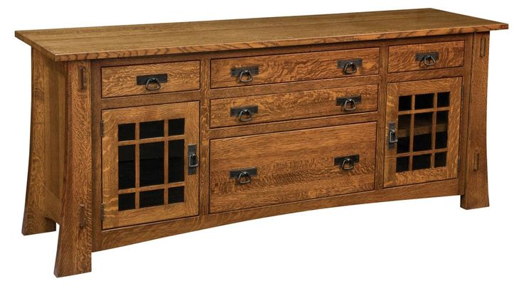 This solidly built wood credenza is shown in a Madison Ways stain over Quartersa…