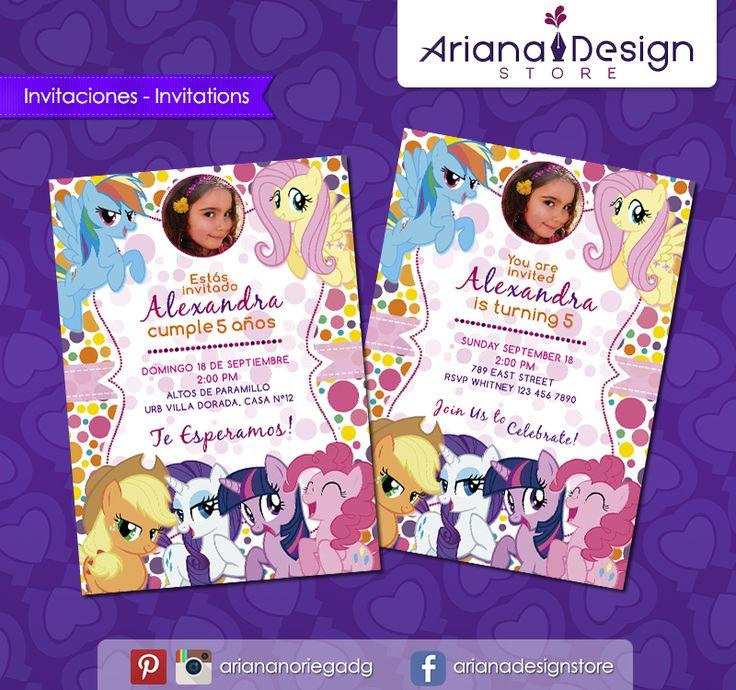#printable #invitation #mylittlepony #mipequeñopony #mlp #arianadesignstore #invitacion #fiestainfantil #cumpleaños