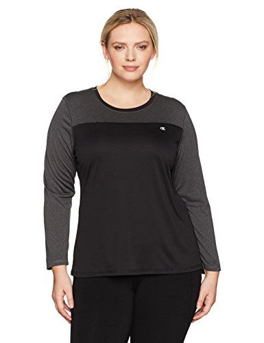 Champion Women's Plus Size Vapor Heather Long Sleeve Tee:   Train hard. Dry fast. Champion authentic athletic wear since 1919.