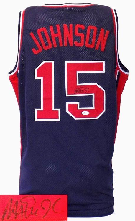 Magic Johnson Signed Custom Navy Olympic Basketball Jersey JSA+SI