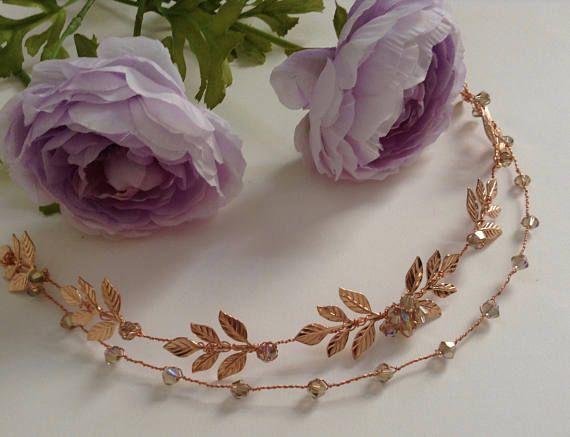 Boho Bridal Rose Gold Hair Vine Laurel Leaf Hair Halo Sash