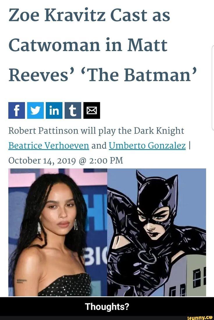 Zoe Kravitz Cast as Catwoman in Matt Reeves' 'The Batman
