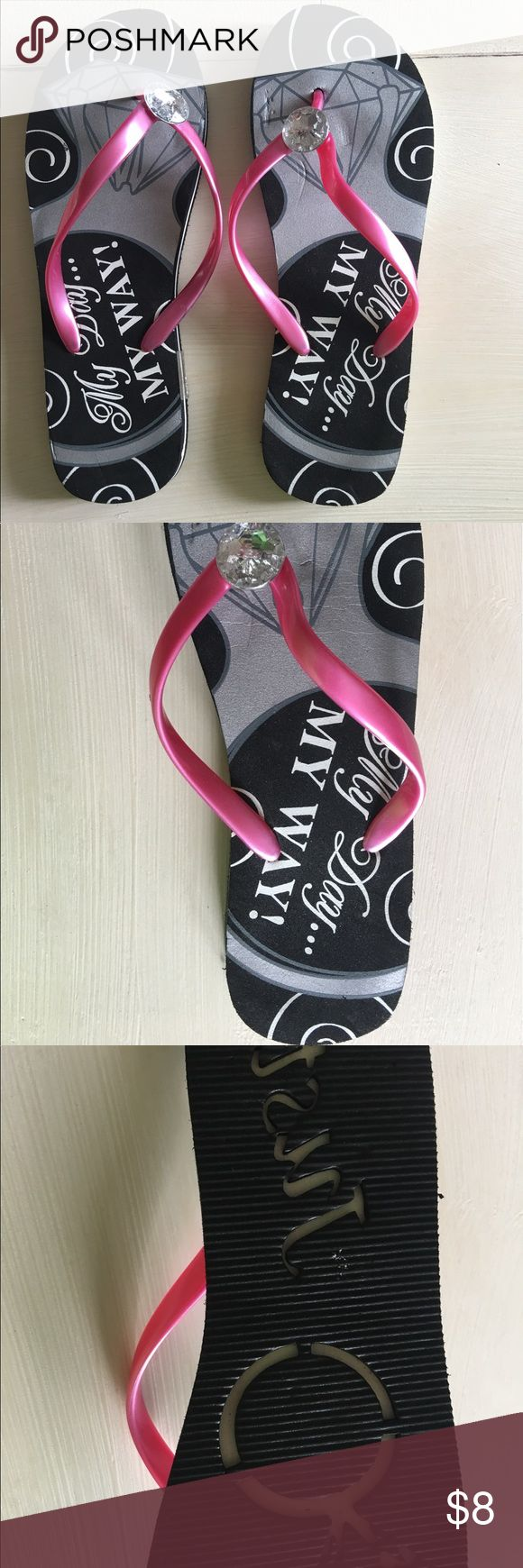 """My Day My Way Flip Flops """"My Day My Way"""" Flip Flops. These flip flops are so super cute for a destination wedding. I worse these once on my honeymoon, (they were super cute to make an imprint in sand with!) Little indention on one, but I bought like that. ☺️❤️💕 Davids Bridal Shoes Sandals"""