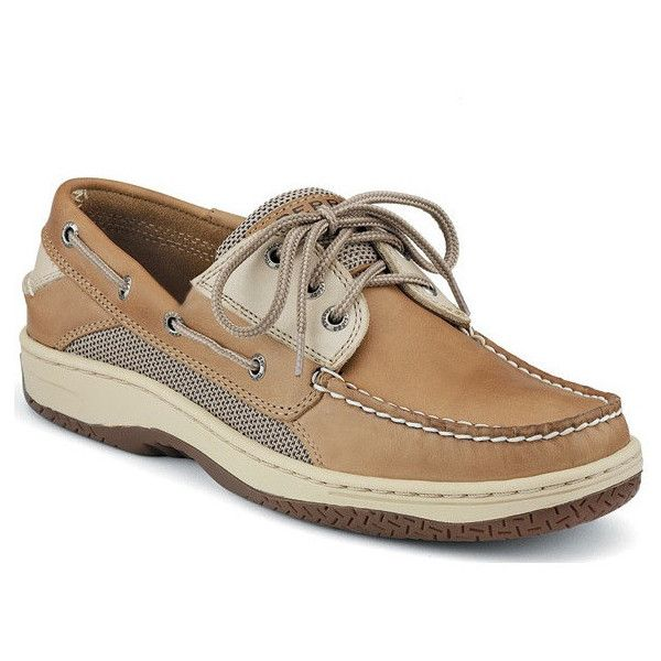 Men's Billfish 3-Eye Boat Shoe in Tan and Beige by Sperry ($100) ❤ liked on…