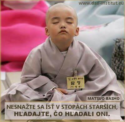 NESNAŽTE SA ÍSŤ V STOPÁCH STARŠÍCH;  HĽADAJTE, ČO HĽADALI ONI. Matsuo Basho, www.dao-institut.eu
