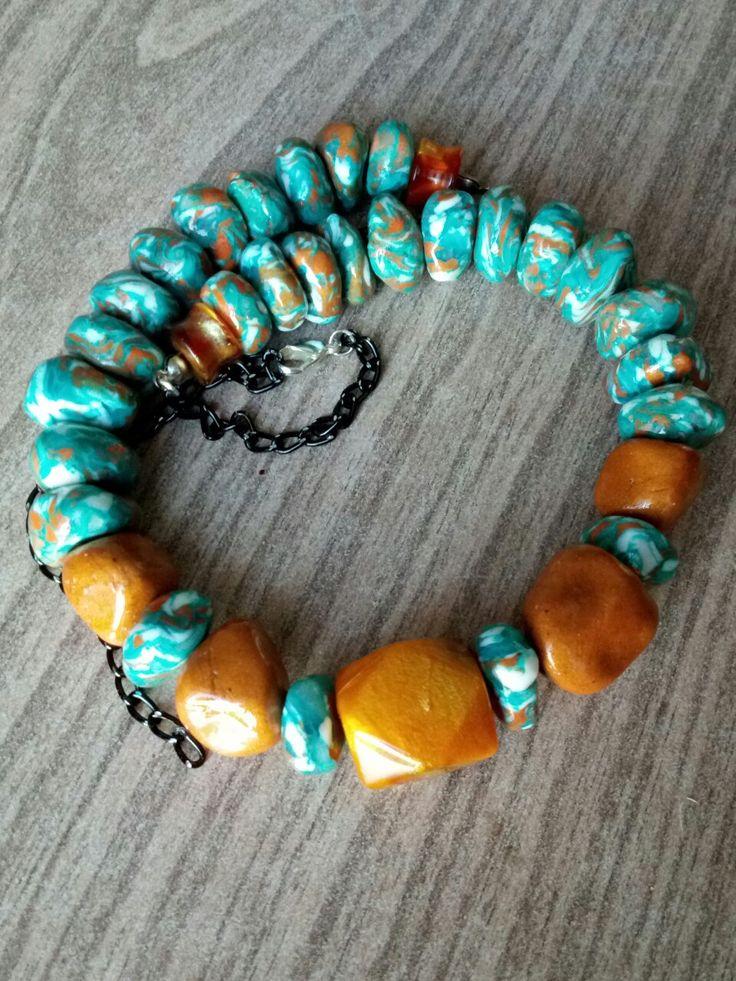 Бусы с эффектом камня#полимернаяглина#handmade#necklace#бусы#polimerclay