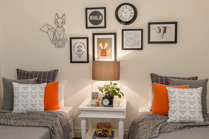 Boys room styling/orange and grey/fox theme