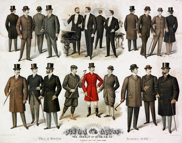 Men in suits - differing levels of formality and functionality - 1895 - mens fall clothing, mens clothing deals, mens in style clothing