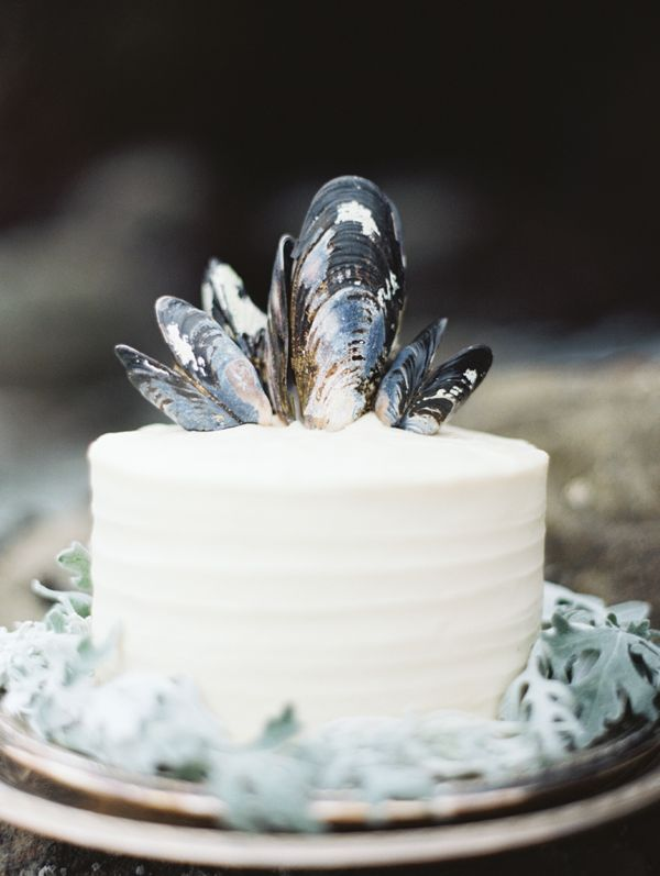 shell cake topper: Whimsical Coastal Big Sur Wedding via oncewed.com
