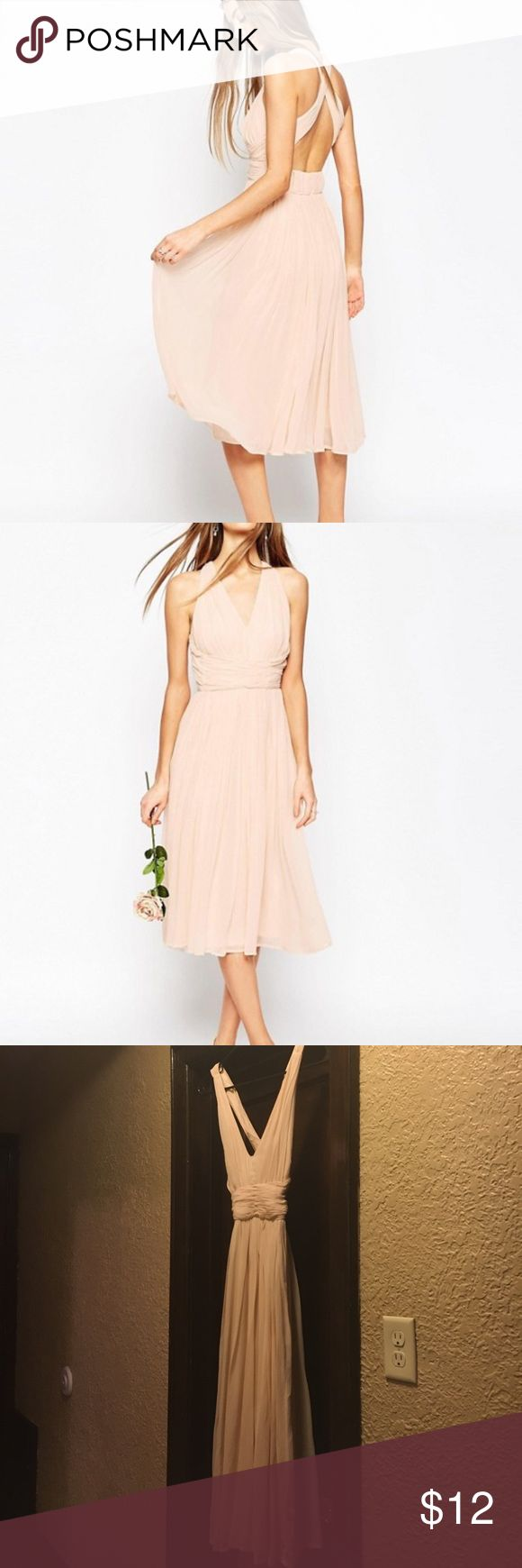 ASOS Size two pink dress This is a ASOS size 2 dress that is perfect for weddings! Asos Dresses Midi