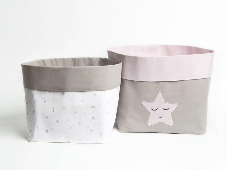 Sleepy Star - Fabric Storage Baskets, Nursery Storage Baskets, Storage Baskets, Canvas Storage Baskets, Baby Baskets, Nursery Baskets