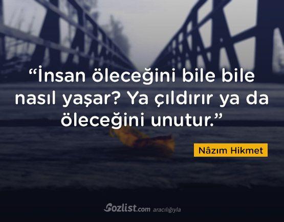 """""""İnsan öleceğini bile bile nasıl yaşar? Ya çıldırır ya da öleceğini unutur."""" #nazım #hikmet #sözleri #yazar #şair #kitap #şiir #özlü #anlamlı #sözler"""