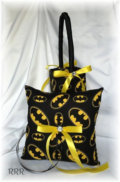 Great addition to your Batman themed wedding...... Items are done in Batman logo themed cotton print fabric, decorated with a Yellow ribbon bow with a crystal center.   ring pillow is 8                                                                                                                                                      More