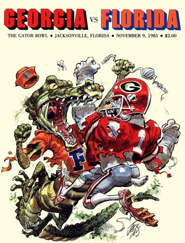 The Florida Gator versus the Georgia Bulldog. 1985 vintage game program. HistoricFootballPostersBlog.com