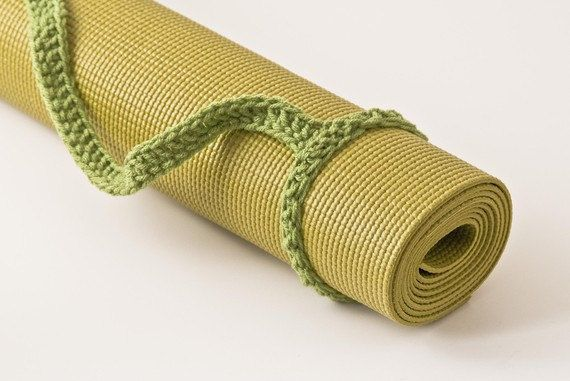 Tea Leaf Green Yoga Mat Sling Tote Handle  FREE by HandmadeHealth, $7.00