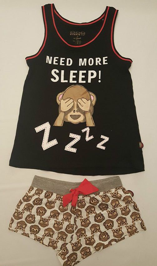 PRIMARK LADIES MONKEY EMOJI VEST T SHIRT & SHORTS PYJAMA SET PJ'S PYJAMAS #PrimarkBRAVADOEMOJILICENSED #PyjamaSetsVESTSHORTSSET #Everyday