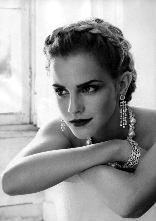A stunning Hollywood glamour portrait of actress Emma Watson.  Simple in execution, - the subject makes the image