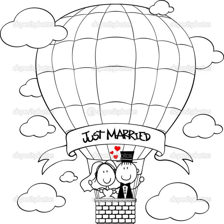 bruidspaar op hete lucht ballon beeldverhaal geïsoleerd op een witte achtergrond, ideaal voor grappige bruiloft uitnodiging - Stockillustratie: 53078045