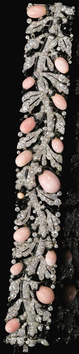 Art Deco diamond, conch pearl, and enamel bracelet by Cartier. Circa late 1920s. Via Diamonds in the Library.