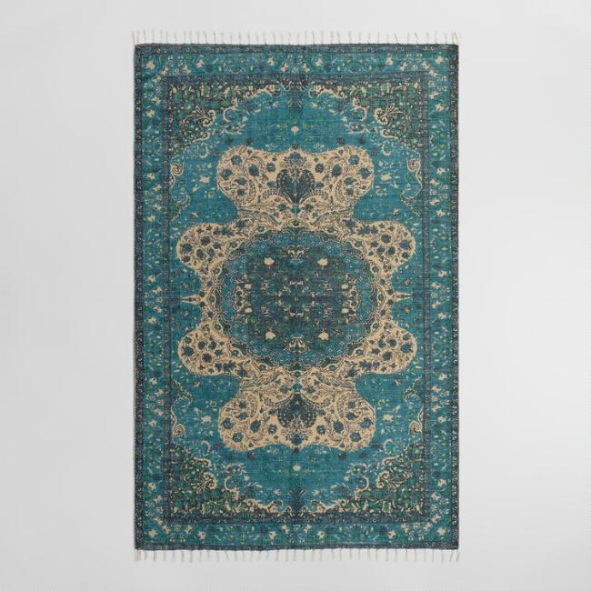 5 X8 Blue Persian Style Print Jute Soha Area Rug V1