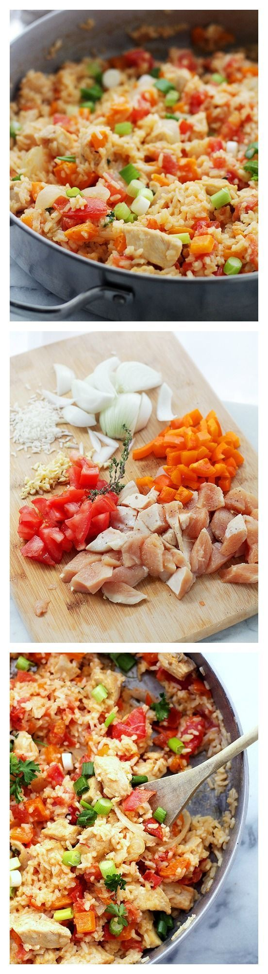 Chicken, Rice and Vegetable Skillet   www.diethood.com   Everything you need for a delicious dinner made in just one skillet!   #recipes #dinner #chicken