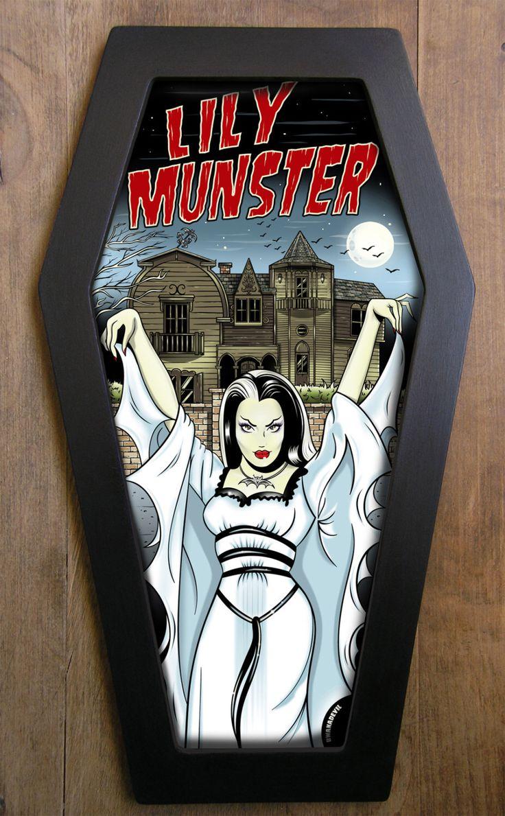 Lily Munster coffin framed print. by bwanadevilart on Etsy https://www.etsy.com/listing/118564202/lily-munster-coffin-framed-print