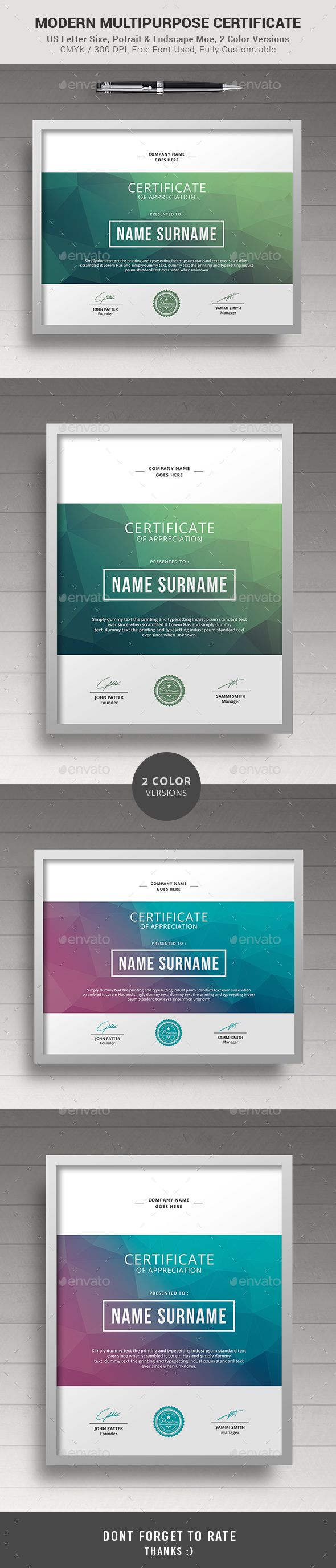 #Certificate - Certificates #Stationery Download here: https://graphicriver.net/item/certificate/18070244?ref=alena994