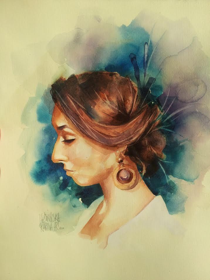 Watercolor/ Elwira/ 45x25 cm/ QoR & Mijello